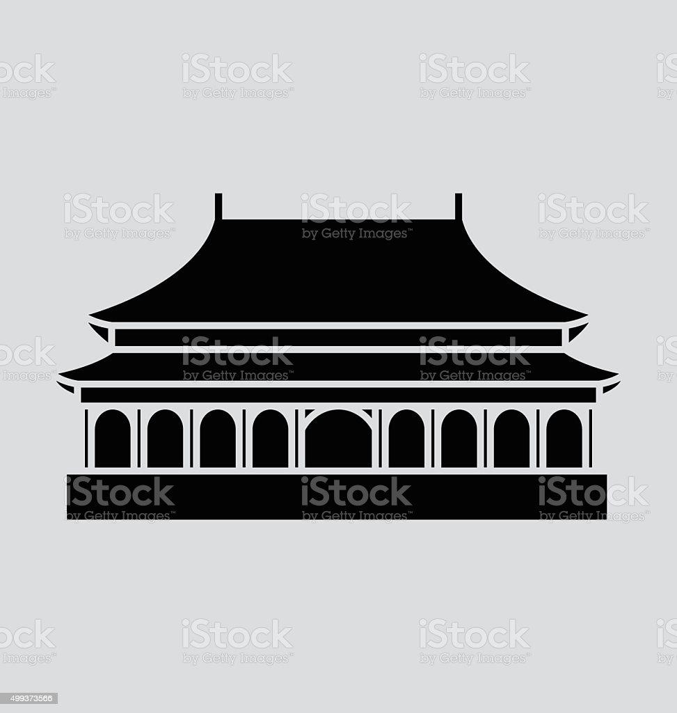 Forbidden City Solid Vector Illustration vector art illustration