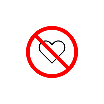 Forbidden love, heart icon can be used for web, logo, mobile app, UI UX