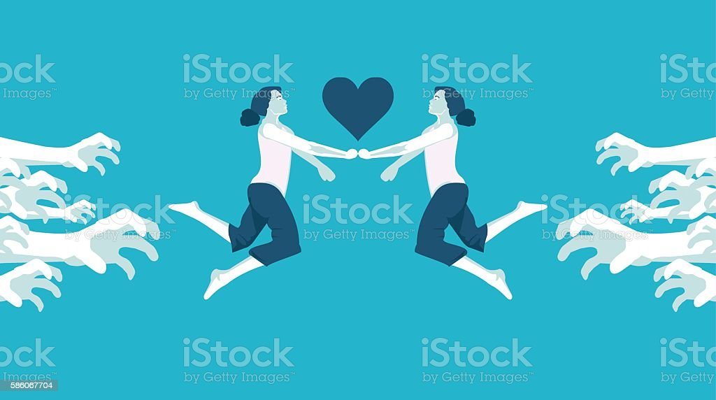 Forbidden Love Lesbian Stock Vector Art More Images Of Abstract