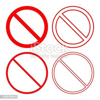 NO SIGN. Forbidden or prohibition symbol. Icon set. Vector.