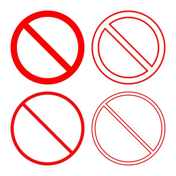 keine spur. verboten oder verbot symbol. icon-set. vektor - ausstoßen stock-grafiken, -clipart, -cartoons und -symbole