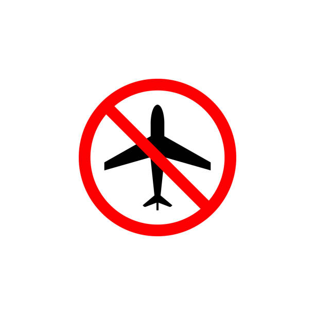 Forbidden plane, flight icon on white background can be used for web, logo, mobile app, UI UX Forbidden plane, flight icon on white background can be used for web, logo, mobile app, UI, UX exclusion stock illustrations