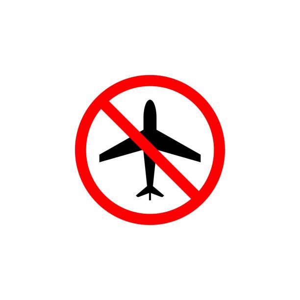 verbotenes flugzeug, flugsymbol auf weißem hintergrund kann für web, logo, mobile app, ui ux verwendet werden - ausstoßen stock-grafiken, -clipart, -cartoons und -symbole