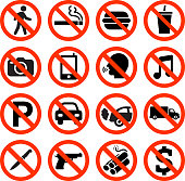 Forbidden Sign interface icon Set. The illustration features black vector icons on white background. App icons are elegant in design and have a modern graphic look and feel. Each icon is silhouetted and can be on it's own or as part of an icon set.