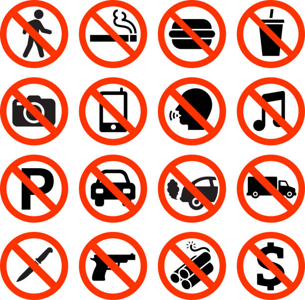 Forbidden Sign not allowed no smoking and eating Forbidden Sign interface icon Set. The illustration features black vector icons on white background. App icons are elegant in design and have a modern graphic look and feel. Each icon is silhouetted and can be on it's own or as part of an icon set. exclusion stock illustrations