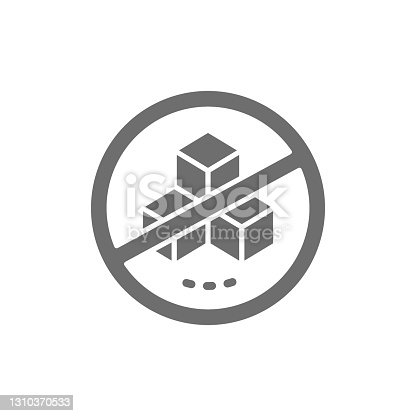istock Forbidden sign with a sugar, no sweets grey icon. 1310370533
