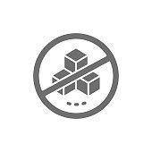 istock Forbidden sign with a sugar, no sweets grey icon. 1310370533