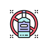 Vector forbidden sign with alcohol bottle, no drinking flat color line icon. Symbol and sign illustration design. Isolated on white background
