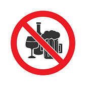 Forbidden sign with alcohol drinks glyph icon. Vector silhouette
