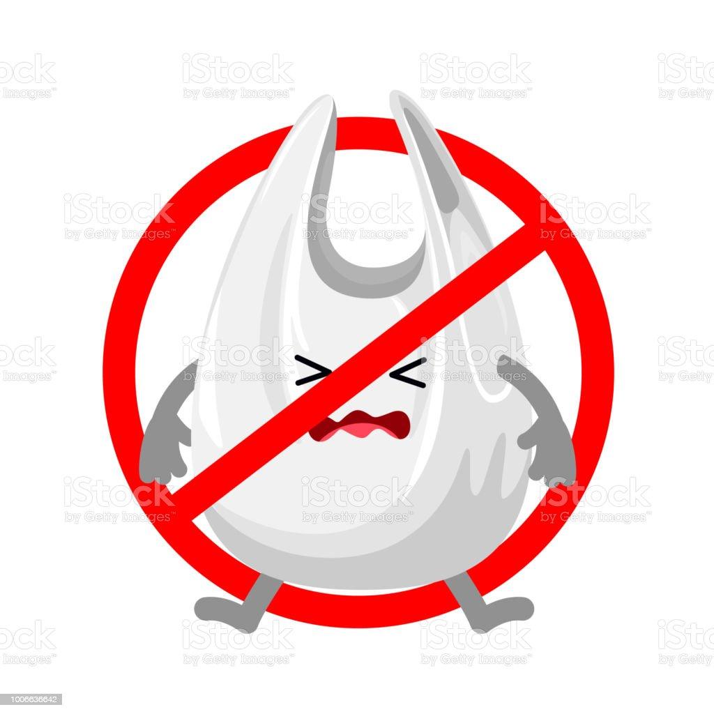 Ilustración De Prohibido Muestra Con Bolsa De Plástico De Dibujos