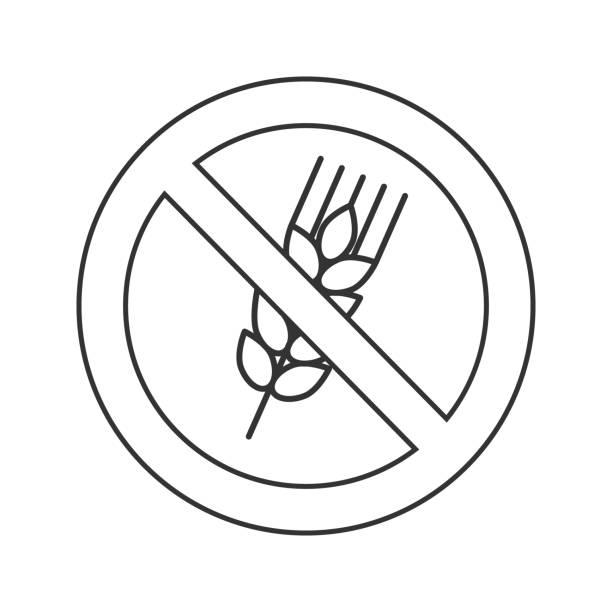 verboten schild mit ohren von weizen-symbol - gluten stock-grafiken, -clipart, -cartoons und -symbole