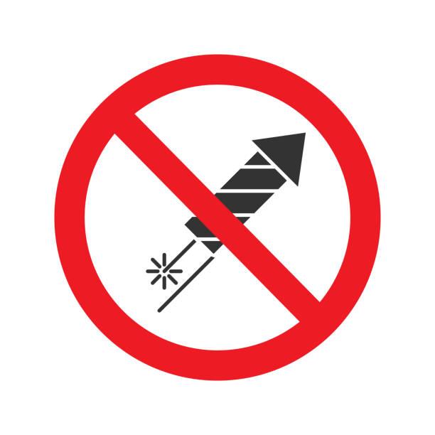 불꽃놀이 로켓 아이콘 표시 금지 - prohibition stock illustrations