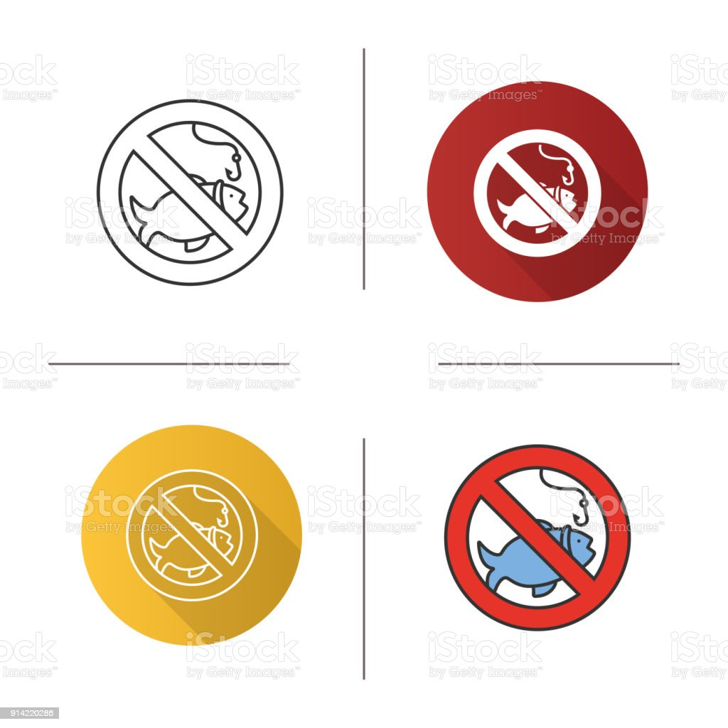 Forbidden sign with fish icon vector art illustration