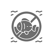 istock Forbidden sign with fish, seafood allergy grey icon. 1318774187