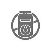istock Forbidden sign with milk packaging, lactose allergy grey icon. 1318773857