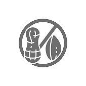 istock Forbidden sign with peanut, groundnut free, nut allergy grey icon. 1318774127