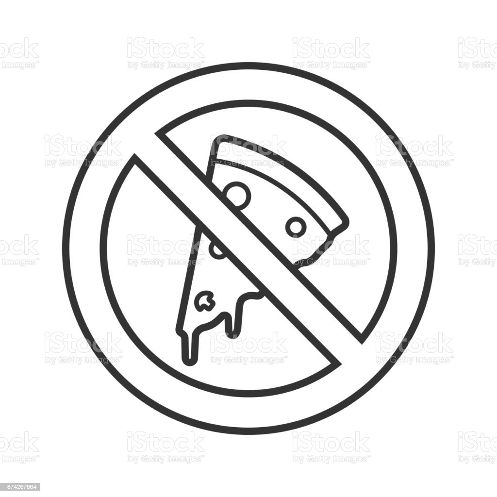 Forbidden sign with pizza slice icon vector art illustration