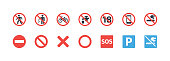 istock Forbidden Signs vector icons set. Not allowed, No Smoking, Don't Litter, Don't Walking, SOS, Not Potable Water, No Entry, Not Mobile Phone, Not Under Eighteen Signs 1280123250