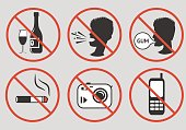 Forbidden signs. Prohibition of alcohol consumption, loud screaming, chewing gum, smoking, photographing, talking on a mobile phone. Vector illustration.