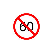 Forbidden speed 60 icon on white background can be used for web, logo, mobile app, UI, UX
