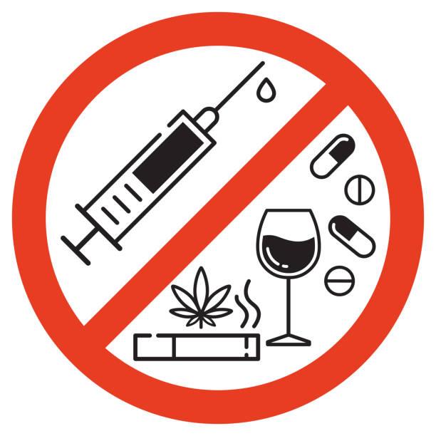Forbidding Vector Signs. Forbidding vector sign. No smoking, no drugs and no alcohol. Isolated illustration on white background. recreational drug stock illustrations