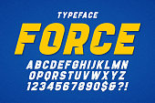 Force heavy display font design, alphabet, typeface, letters and numbers, typography. Swatches color control
