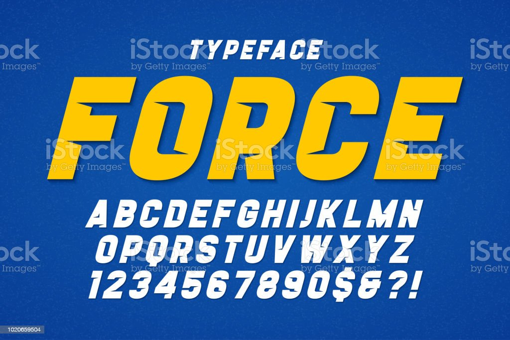 Force heavy display font design. Swatches color control. vector art illustration