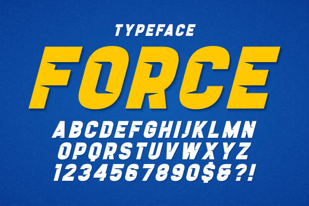 force heavy display font design. swatches color control. - vibrant color stock illustrations