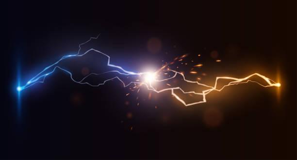 wymusza niebieskie i żółte wyładowania atmosferyczne - elektryczność stock illustrations