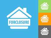 Forclosure  Flat Icon on Blue Background. The icon is depicted on Blue Background. There are three more background color variations included in this file. The icon is rendered in white color and the background is blue.