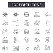 Forecast line icons for web and mobile design. Editable stroke signs. Forecast  outline concept illustrations
