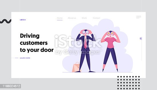 istock Forecast, Prediction Website Landing Page, Business Characters Watching to Binoculars, Business Vision, Recruitment Employee, Planning Strategy Web Page. Cartoon Flat Vector Illustration, Banner 1166024512