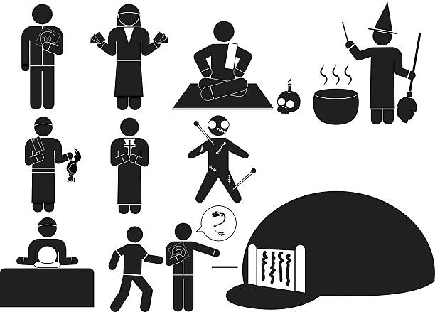 forecast Superstition and religious belief icon moses religious figure stock illustrations
