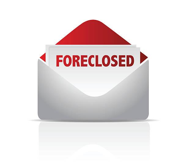 ilustraciones, imágenes clip art, dibujos animados e iconos de stock de sobre para correo foreclosed ilustración diseño sobre blanco - embargo hipotecario