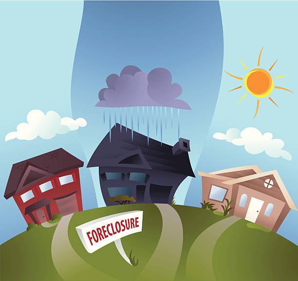 Embargo hipotecario nubes - ilustración de arte vectorial