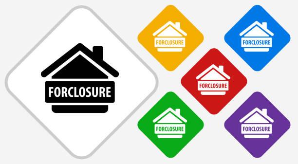 ilustraciones, imágenes clip art, dibujos animados e iconos de stock de ejecución hipotecaria color diamante vector icono - embargo hipotecario