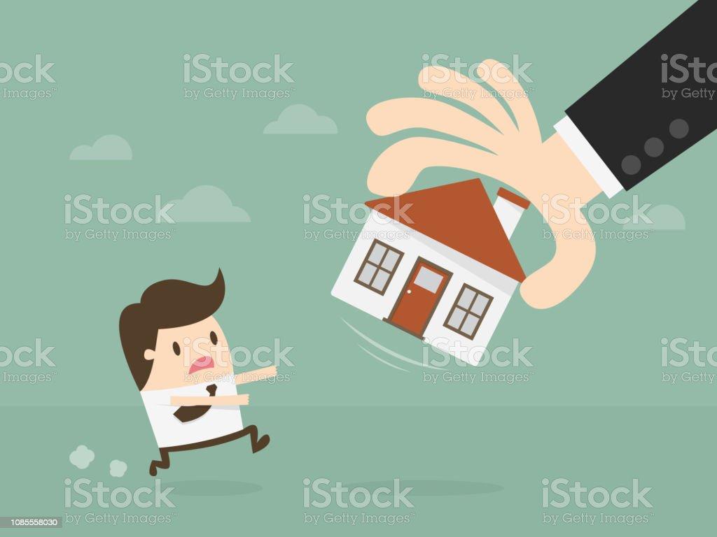 Casa de ejecución hipotecaria. - ilustración de arte vectorial