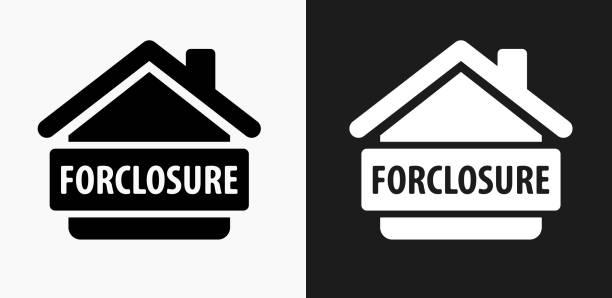 Icono de ejecución hipotecaria en blanco y negro Vector fondos - ilustración de arte vectorial
