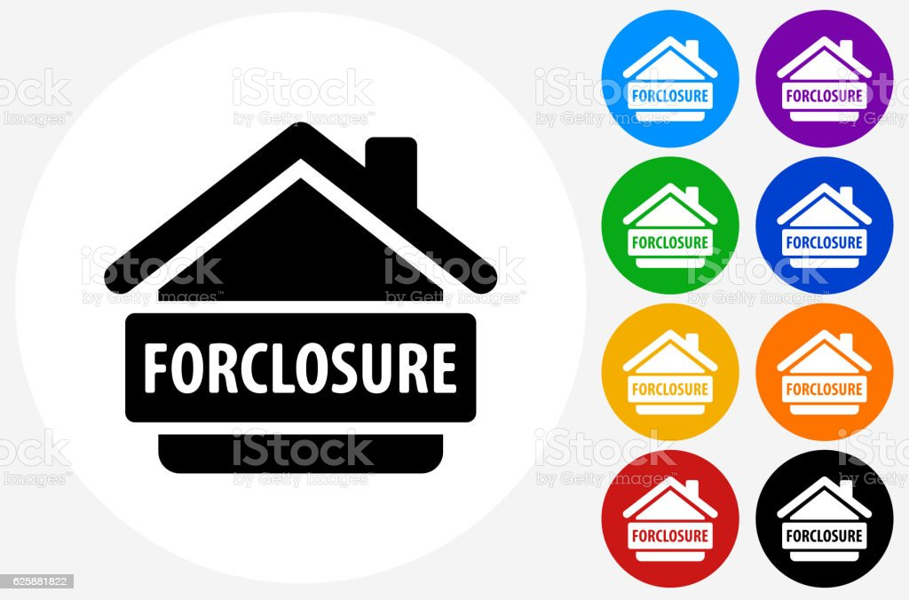 Foreclosure Icon on Flat Color Circle Buttons ベクターアートイラスト