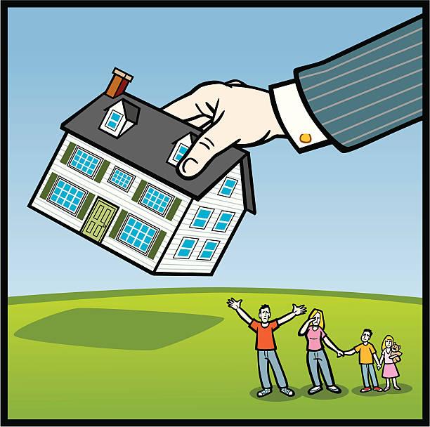 ilustraciones, imágenes clip art, dibujos animados e iconos de stock de embargo hipotecario en familia - embargo hipotecario