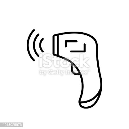 Forehead Infrared Thermometer with signal. Linear icon of digital device for measuring temperature. Black illustration of medical non-contact equipment. Contour isolated vector on white background