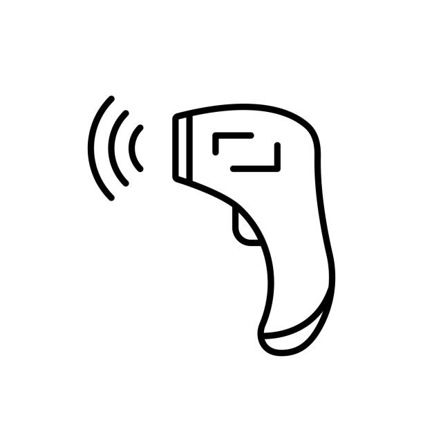Forehead Infrared Thermometer with signal. Linear icon Forehead Infrared Thermometer with signal. Linear icon of digital device for measuring temperature. Black illustration of medical non-contact equipment. Contour isolated vector on white background infrared stock illustrations
