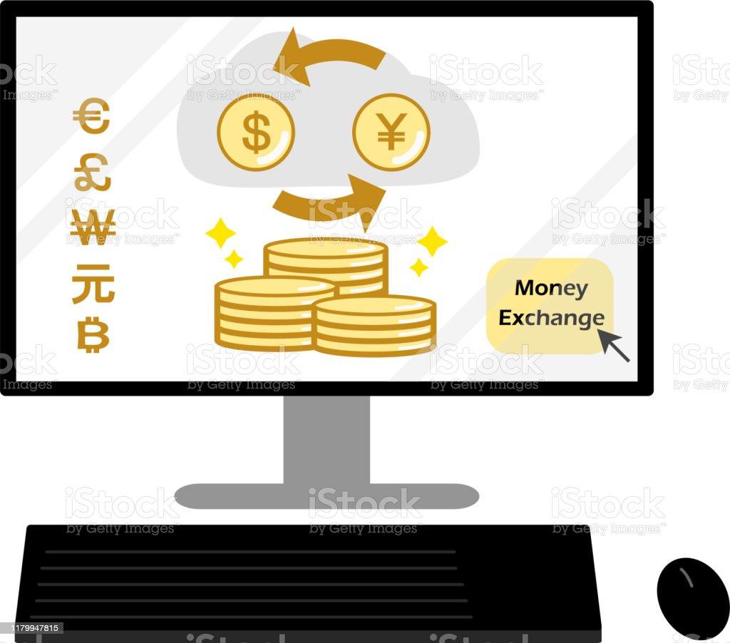 Echange De Devises Sur Linternet Pc Vecteurs Libres De Droits Et Plus D Images Vectorielles De Activite Bancaire Istock
