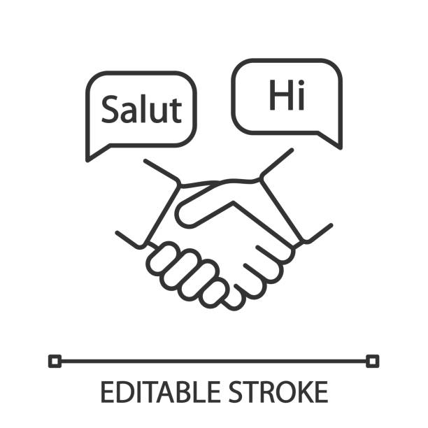 Foreign language for business linear icon Foreign language for business linear icon. Business communication skills. Thin line illustration. Handshake and speech bubbles with hello. Negotiations. Vector isolated drawing. Editable stroke french language stock illustrations