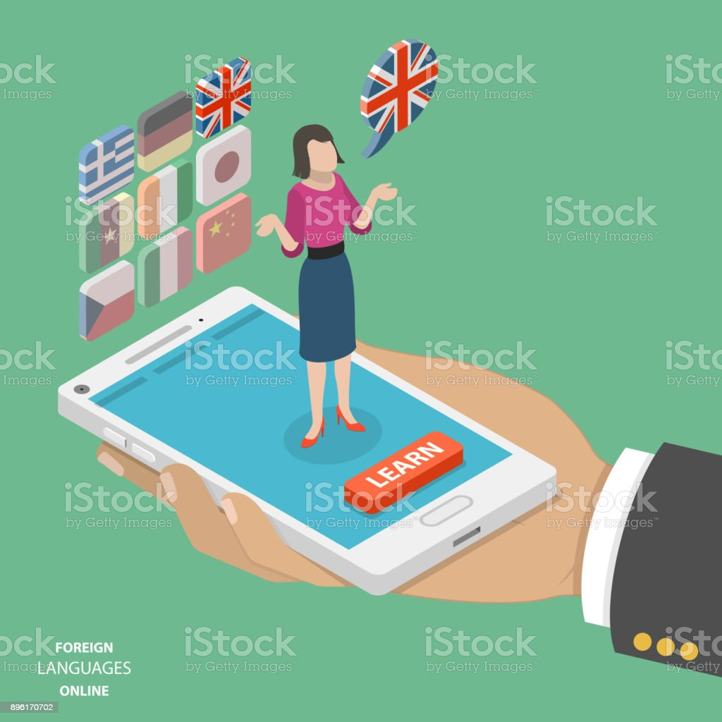 Foreign language online flat isometric vector vector art illustration