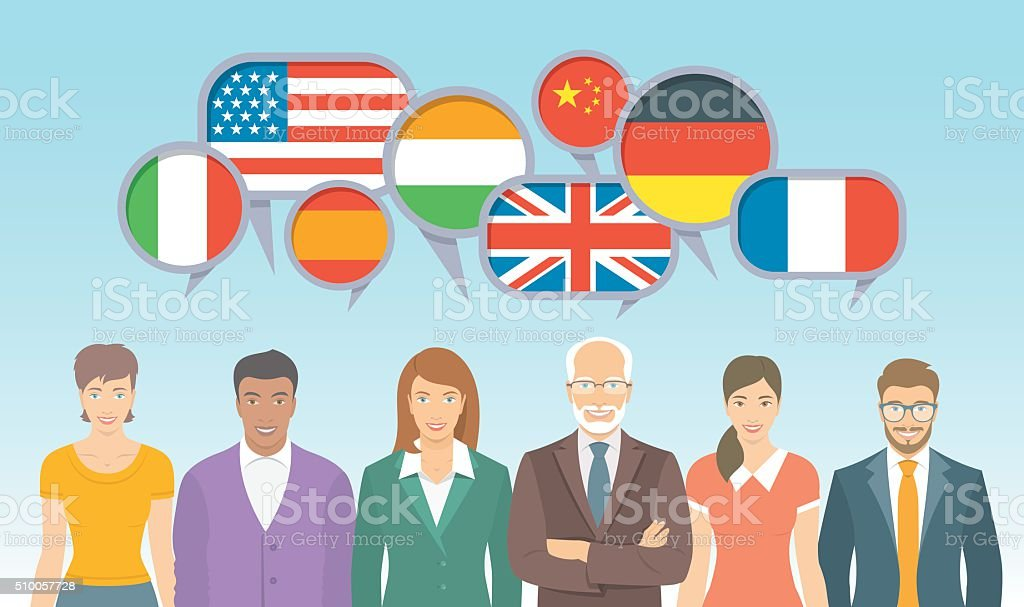 Foreign language school for adults flat illustration vector art illustration
