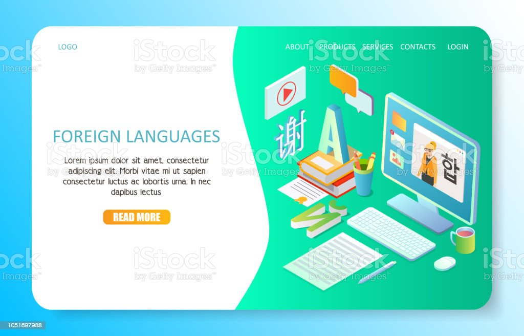 Foreign languages landing page website vector template vector art illustration