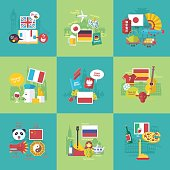 Foreign languages learning icons. Communication, business and travel. Vector flat cartoon illustrations set.