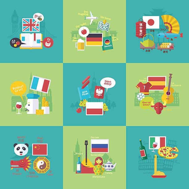 foreign languages learning icons. vector flat cartoon illustrations set. - englischlernende stock-grafiken, -clipart, -cartoons und -symbole