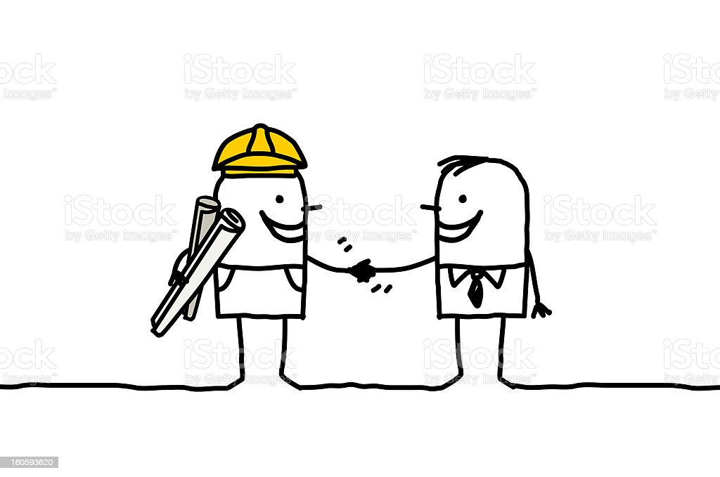 foreman & client handshake royalty-free stock vector art